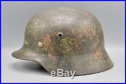 Original German WWII Named Splotched Camouflaged Heer Helmet