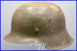 Original German WWII Tri Color Normandy Camo M42 Helmet