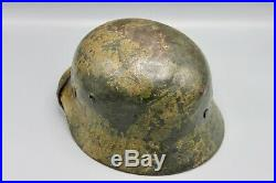 Original German WWII Woodchip Camo M35 DD Heer Helmet Battle Damaged