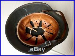 Original German Wwii M42 Single Decal Normandy Pattern Camouflage Helmet