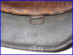 Original NAMED WWII German Military M40 Q64 Stahlhelm Helmet with Liner