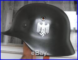 Original Restored German Helmet M35 WW2 German Helmet Original Leather Band