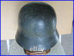Original Stamped M35 German Camo Helmet w Liner Military WW1 WW2 Badge Medal Pin