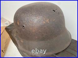 Original WW2 German Army Barn Find M42 German Helmet & Liner Size 66