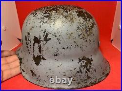 Original WW2 German Kriegsmarine M42 Deck Gunners Helmet Named in Liner