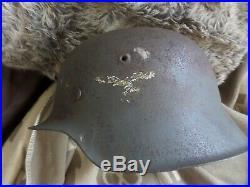 Original WW2 German M42 Luftwaffe SD Helmet Normandy found