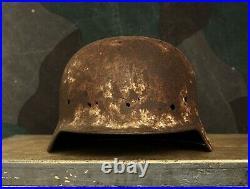 Original WW2 Relic German Helmet M35 / from Kurland Pocket / Winter Camo