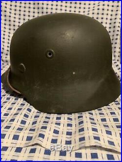 Original WW2 WWII German helmet M40 (64) With Reproduction Liner