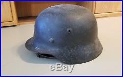 Original WWII Era German Helmet with NO Markings With Original Leather & Strap