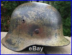 Original WWII German Heer Single Decal Normandy/Tri Color Camo Helmet Untouched