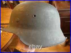 Original WWII German Helmet M42 No Decals Good Liner & Paint Large Size
