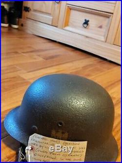 Original WWII German Kriegmarine helmet M42 Rare find and mint Read for info
