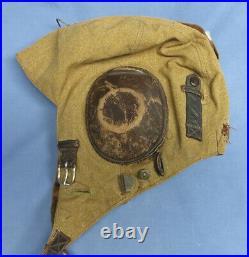 Original WWII German Luftwaffe LKp-S101 Tan Summer Flight Helmet Cap Hat VGC