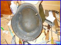 Original WWII German M35 LW dd helmet, shell and rivets, SE66