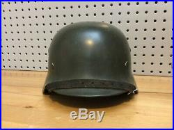 Original WWII German M35 double decal helmet 64/57 NS64, 1936 Production Date