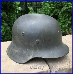 Original WWII German M42 No Decal Helmet Named and Untouched