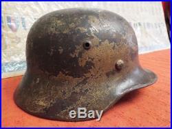 Original Ww2 German Normandy Camo M-35 Steel Helmet
