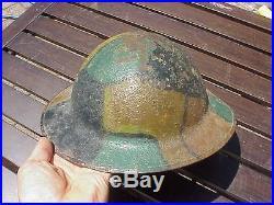 Original Wwi British / Us Brodie Helmet With German Style Camo