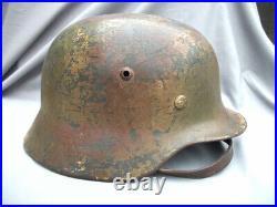 Original Wwii German M35 Normandy Camouflage Helmet Se64
