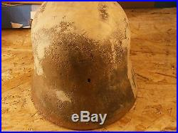 RARE ORIGINAL WW1 WW2 GERMAN M18 HELMET WITH LINER from the ground