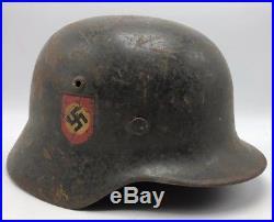 Rare Polizei German M40 Double Decal Helmet manufactured by F. W Quist