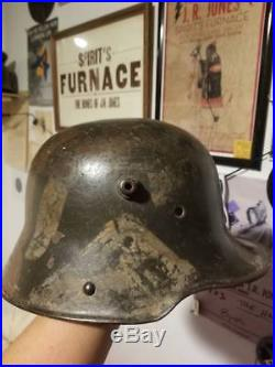 Rare Size 62 Stone Camo Ww1 German Helmet With Liner Named Wwi Imperial Germany