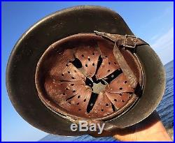 Rare WW2 German M42 Helmet Former North AFRICAN Campaign Camo Liner & Chinstrap