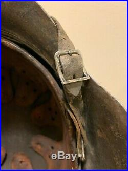 Single Decal WW2 German Helmet M42 Named With Original Liner Chin Strap & Paint