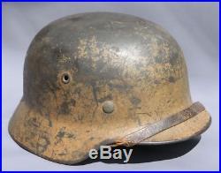 Superb Original Ww2 Dak Afrika Korp M40 German Camo Helmet Wwii
