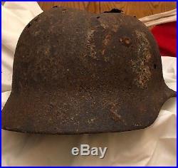 Superb Original Ww2 German Normandy Camo Helmet (possibly Elite) Wwii Relic
