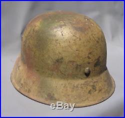 Superb Original Ww2 M35 German Normandy Camo Helmet (possibly Elite) Wwii Relic