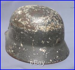 Superb Original Ww2 M35 German Winter Camo Helmet (possibly Elite) Wwii Relic