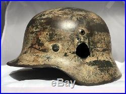 Superb WW2 German helmet, M35 DD Army winter camouflage, NS62, dated 1938