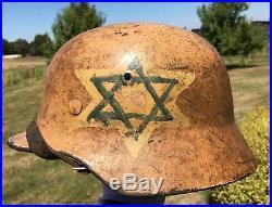 Superb and Historic DAK German WW2 Jewish Brigade Captured Helmet