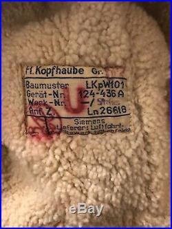 VINTAGE WWII GERMAN LUFTWAFFE WINTER FLIGHT HELMET, LKpW101