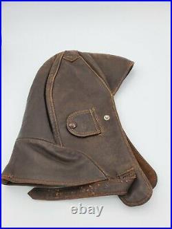 Vintage Wwii German Luftwaffe Pilot Aviator Leather Flight Helmet Cap