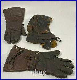 Vtg Rare Ww2 Wwii German Aviator Pilot Leather Flight Helmet & Gloves
