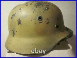 WW 2 German Africa Corps Helmet made by Quist Firm of Esslingen is stamped Q64