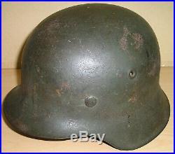 WW-II German M. 42 Wehrmacht Infantry Steel Helmet from Normandy Campaign c. 1944