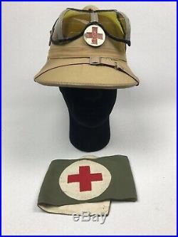 WW2 Afrika Korps Medic Pith Helmet And Medical Armband German Army