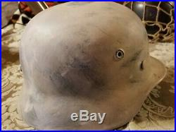 WW2 GERMAN HELMET M40 SIZE Q62 withLiner and Chin Strap Snow Camo