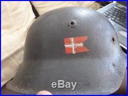 WW2 GERMAN HELMET M42 used by Danish resistance movement used