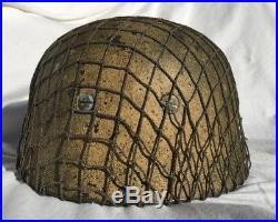 WW2 GERMAN M38 PARATROOPER HELMET ITALIAN THEATER CAMO with ALLIED NET