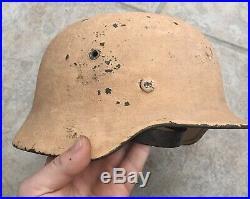 WW2 German Afrika Korps Tan Camo Helmet M35 M40 M42