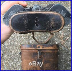WW2 German Carl Zeiss Artillery Binoculars WithCase Helmet Flag Medal