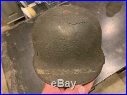 WW2 German Combat Helmet M-40 Q66 With Thick Textured Paint With Field Post No