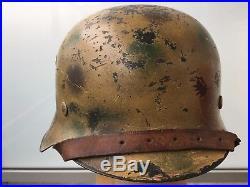 WW2 German Dotted Camouflage Helmet Afrika Korps WWII Camo Helmet M42