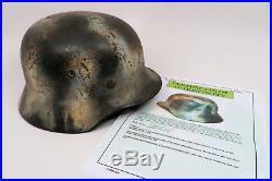 WW2 German Heer winter snow camouflage camo combat helmet US WW1 Army Vet trophy
