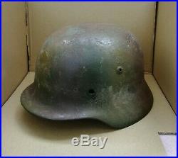 WW2 German Helmet M35/64 Repaint Normandie Camo Wehrmacht Original Dug relic