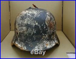 WW2 German Helmet M40/62 Repaint Winter Camo Wehrmacht Original Dug relic